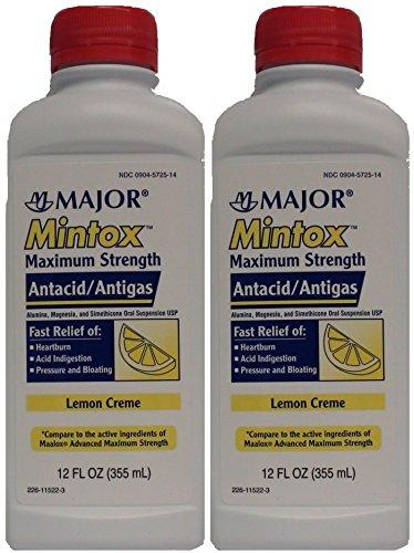 Liquid Maalox - Mintox Maximum Strength Antacid Anti-Gas Liquid Generic for Maalox Max Lemon Flavor 12 oz Per Bottle 2 PACK