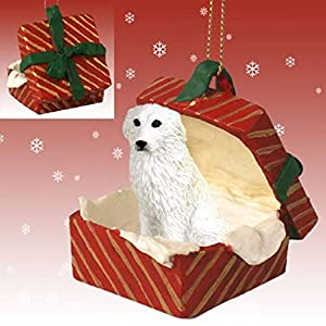 Conversation Concepts Great Pyrenees Gift Box Red Ornament 2
