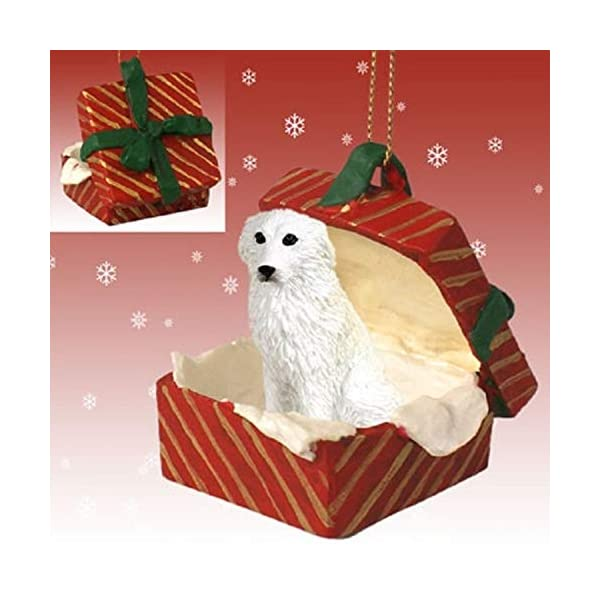 Conversation Concepts Great Pyrenees Gift Box Red Ornament 1