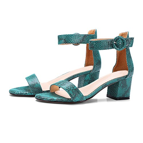 1TO9 Womens Chunky Heels Sandals Watersnake Ultrasuede Sandals MJS03054 Blue T6Z1M5