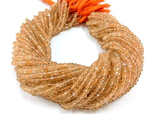 GemAbyss Beads Gemstone 1 Strand Natural Citrine Rondelle Faceted Gemstone Loose Beads 3-4mm 13 Inch Long Inch Code-MVG-2446 ()
