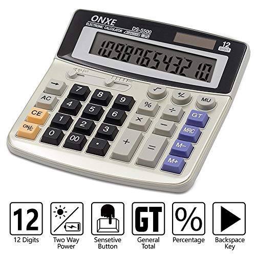Calculator,ONXE Standard Function Desktop Business Calculator,Solar and AA Battery Dual Power Office Basic Electronic Calculators with Big Button and 12-Digit Large LCD Display