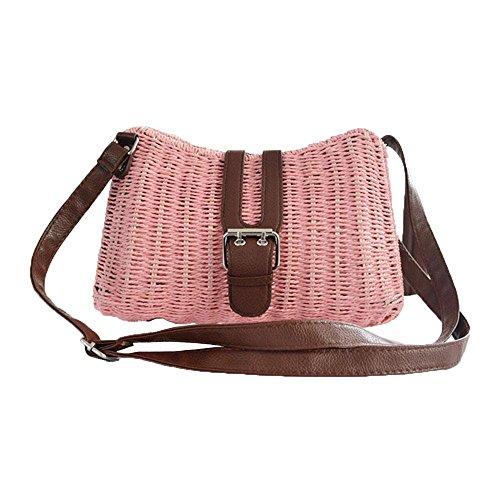 WANGXN Womens Mano Weave vacaciones de viajes de papel cuerda hierba hombro , rose red pink