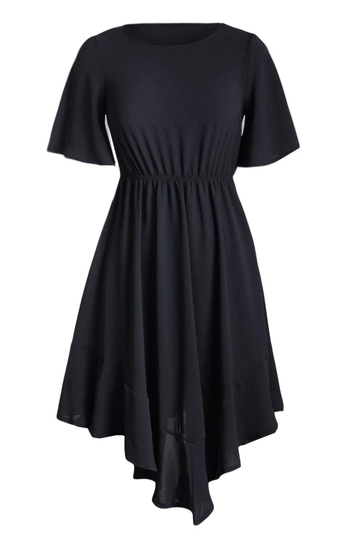 e962511a7089 HOTAPEI Women's Casual Short Sleeve Empire Waist Summer Chiffon Midi Dresses  with Irregular Hem at Amazon Women's Clothing store: