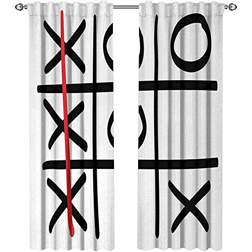 Victory Valance Pattern - Returiy Xo, Blackout Curtains Kids, Popular Tic Tac Toe Game Pattern Hand Drawn Design Win Victory Finish Theme, Curtains Kitchen Valance, W96 x L96 Inch, Vermilion Black White