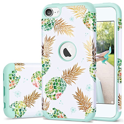 iPod 5 Case Pineapple,iPod 6 Case,Fingic Shiny Pineapple&Fresh Green Silicone Design Summer Case 2 in1 Hybrid Skin Cover for iPod 5/6,Green Pineapple/Dandelion
