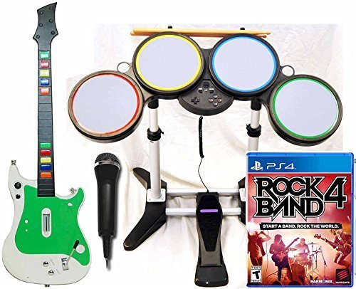 Rock Band 4 Band Bundle Set PS4 Game Wireless Guitar/Drum Kit in-a-box
