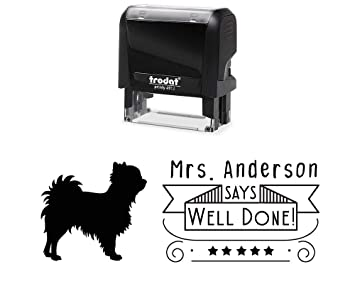 d68b37dbfdd7 Customized Well Done Classroom Stamper with Fluffy Dog Image. Variety