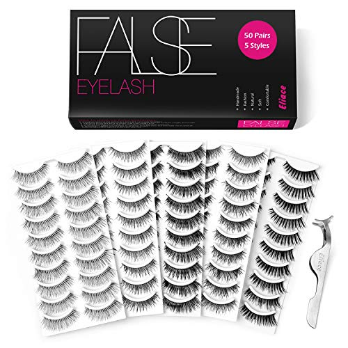 Eliace 50 Pairs 5 Styles Lashes Handmade False Eyelashes Set Professional Fake Eyelashes Pack,10 Pairs Eyes Lashes Each Style,Very Natural Soft and Comfortable,With Free EyeLash Tweezers ()