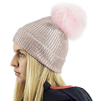 440ececc02a RockJock Ladies Metallic Fine Rib Knitted Beanie Ski Hat with Large Faux  Fur Pom Pom (Pink)  Amazon.co.uk  Clothing