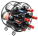 PAG 7 Bottles Free Standing Countertop Metal Wine Rack Tabletop Wine Storage Holders Stands, Black For Sale