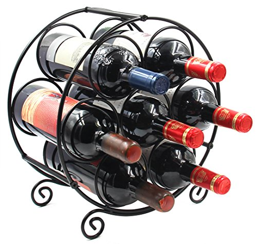 PAG 7 Bottles Free Standing Countertop Metal Wine Rack Tabletop Wine Storage Holders Stands, Black by PAG