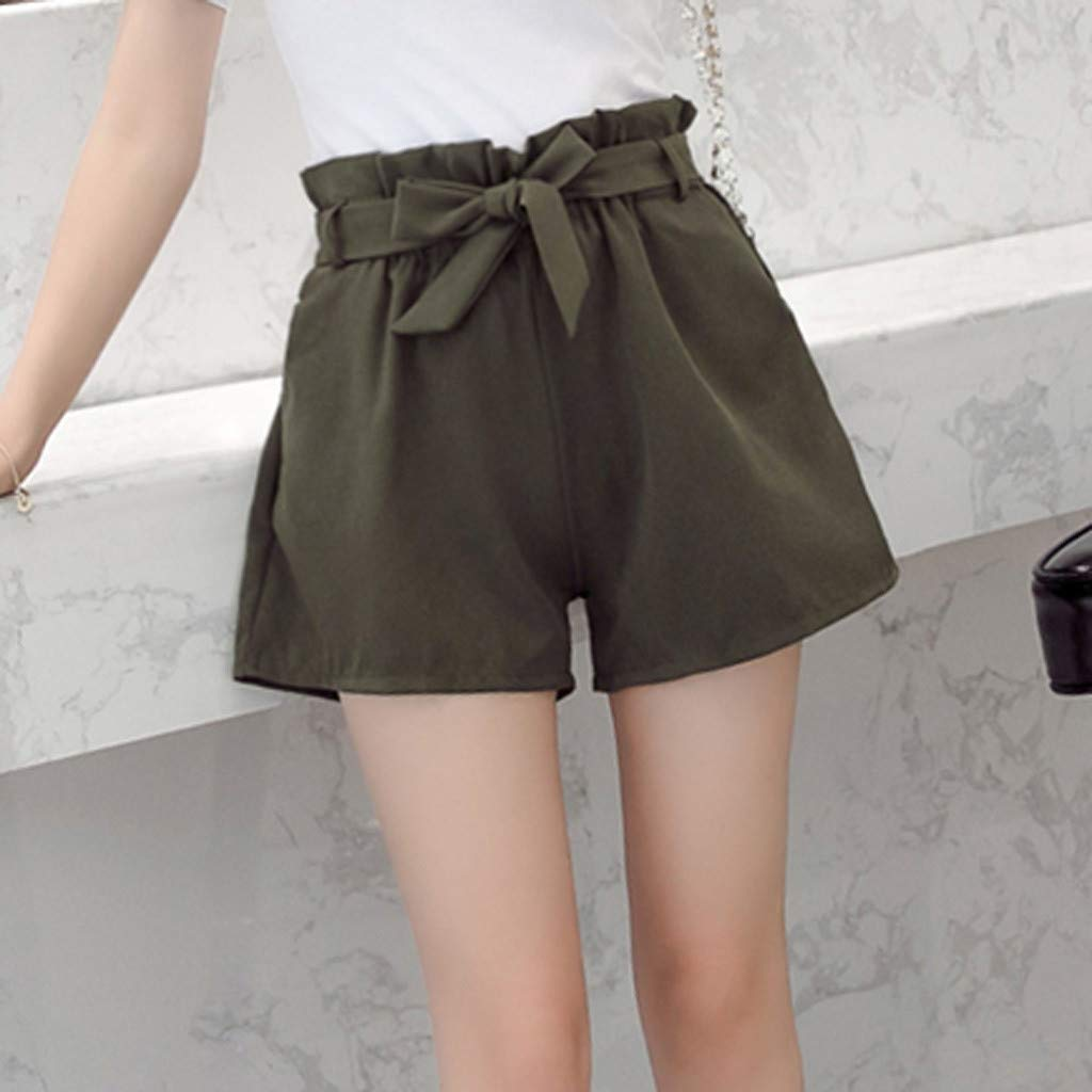 Dainzuy Womens Shorts Solid High Waisted Fit Casual Elastic Front Pockets A-Line Casual Tie Up Belt Short Pants