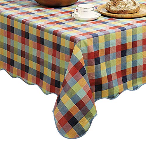 ColorBird Summer Check Flannel Backed PVC Tablecloth Easy Care Oilproof Spillproof Table Cover for Kitchen Dinning Tabletop Decor (Rectangle/Oblong, 54 x 70 Inch, Colorful Checks)