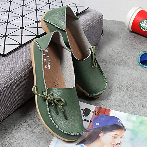 Breathable Leather Comfort Shoes Shoes Moccasins Oxfords Loafers Loafers Armygreen Casual Flat Coach On Women's Driving Women Slip Oq0U5fB