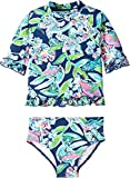Lilly Pulitzer Kids Baby Girl's UPF 50+ Clara Rashguard Swimsuit (Toddler/Little Kids/Big Kids) Deep Sea Navy Sway This Way Swim 10