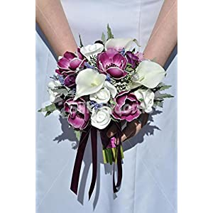 Real Touch Anemone Calla Lily & Rose Small Wedding Bouquet 67