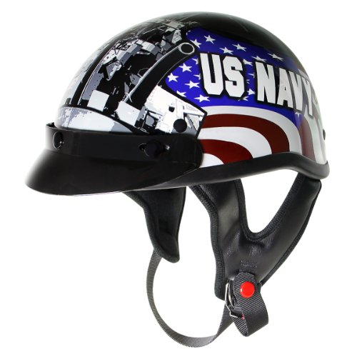 Outlaw T70 Glossy Motorcycle Half Helmet with Officially Licensed U.S. Navy Gra - - Gloss Outlaw Dot
