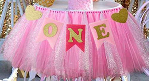 Alemon 1st Birthday Girl Baby Tutu for High Chair Decoration and ONE Pennant Happy Birthday for Highchair