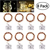 LED Starry String Lights, 8PCS 6.5foot Warm White Copper Fairy Lights with 20 Micro LEDs, Waterproof, Battery Operated, for Wedding Parties Table Decoration