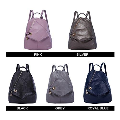 BOYATU Womens Leather Backpacks Ladies Travel Purse Satchel Shoulder School Bags(Royal bule) by BOYATU (Image #6)