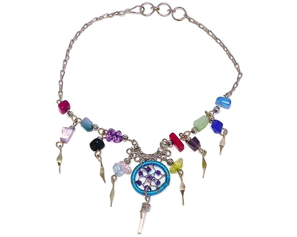 Mia Jewel Shop Dream Catcher Multicolored Chip Stone Quartz Crystal Dangle Silver Fan Chain Anklet Mia Jewel Inc. AK-030301