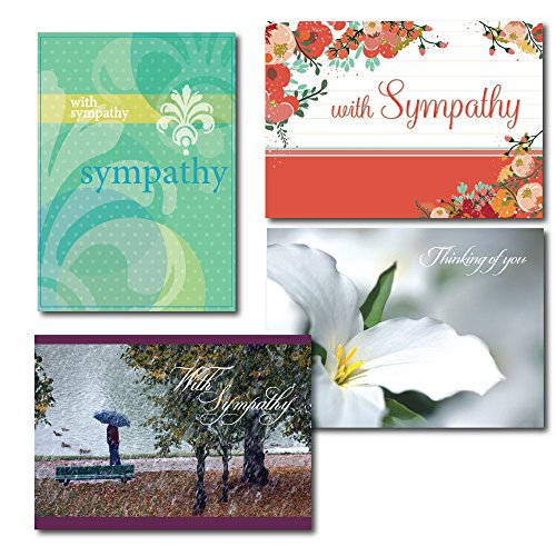 Sympathy Greeting Card Assortment. A Box Set of 7 Each of 4 Contemporary Designs and Verses. Send Heartfelt Condolences to Family, Friends and Business (Box Of Sympathy Cards)