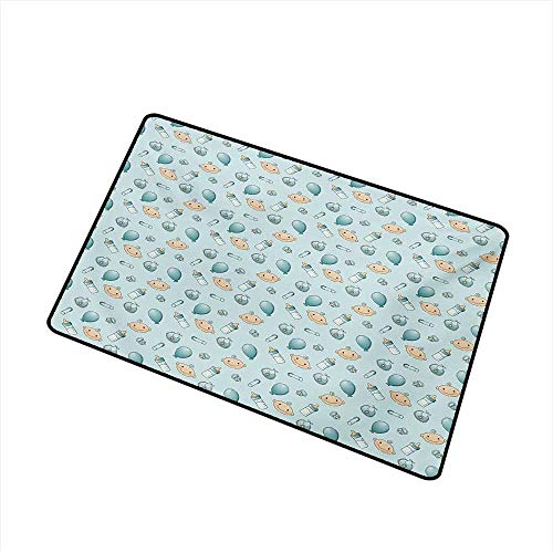 Becky W Carr Baby Inlet Outdoor Door mat Infant Head with Balloons Pacifiers and Milk Bottles Newborn Inspired Catch dust Snow and mud W15.7 x L23.6 Inch,Baby Blue Turquoise Tan