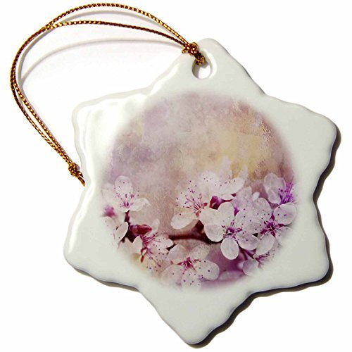 (Christmas Ornament Andrea Haase Illustration Floral - Beautiful spring flowers cherry blossom watercolor art - Snowflake Porcelain Ornament)