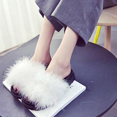 Gbsell Moda Donna Casa Casual Scarpe Di Sandalo Piatto Pelliccia Di Coniglio Lanuginoso Bianco (5,5, Viola) Bianco