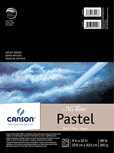 Drawing Materials Charcoal - Canson Mi-Teintes Pastel Paper Pad, Dual Sided Textures for Pastels, Charcoals, Pencil, Fold Over, 98 Pound, 9 x 12 Inch, Black, 24 Sheets