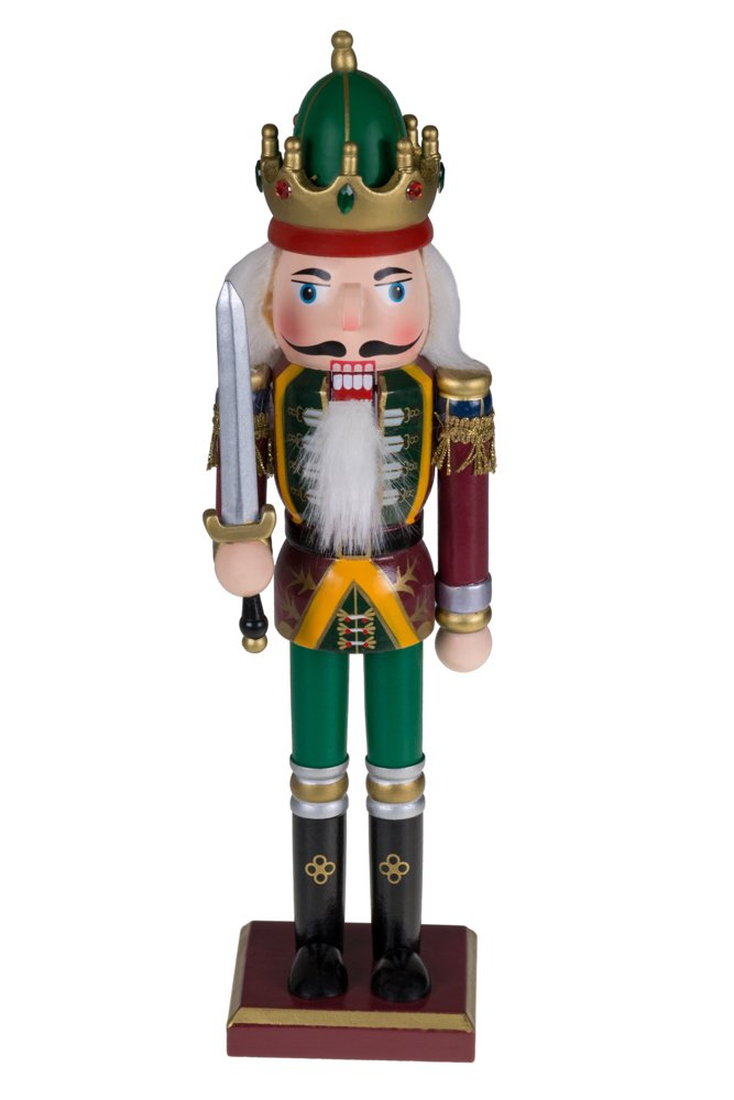Traditional King Nutcracker | Red, Green and Yellow Uniform | Holding Drawn Sword | Classic Collectible Nutcracker | Festive Christmas Decor | Perfect for Shelves and Tables | 100% Wood | 12'' Tall