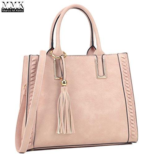 MMK Collection Classic Retro Simple Style Women Satchel Handbag Vegan Leather Medium Size Side-Weave Design Tassel Deco Designer Handbags for Women~Pretty Gifts for Women (MA-FN-03-6832-PK)