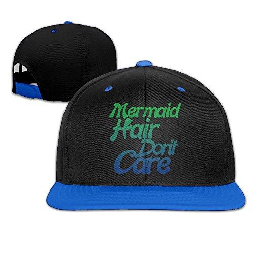 AJHGD Mermaid Hair Don't Care Unisex Hip Hop Flat Bill Snapback Hats Plain Cotton Baseball Caps for Women (Mermaid Fisherman Costume)