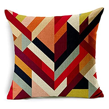 HomeChoice Cotton Linen Durable Home Square Abstract Geometric Decorative Throw Pillow Cover Accent Cushion Cover Pillow Shell Bed Pillow Case 18 By 18 Inches (18 X18 ),Colorful Stripes