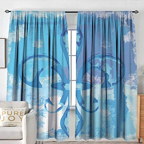 NUOMANAN Blackout Curtains for Bedroom Fleur De Lis,Illustration of Lily Flower Like Frozen Heredic Nobility Emblem Queenly Style Print,Blue,for Bedroom&Kitchen&Living Room 54
