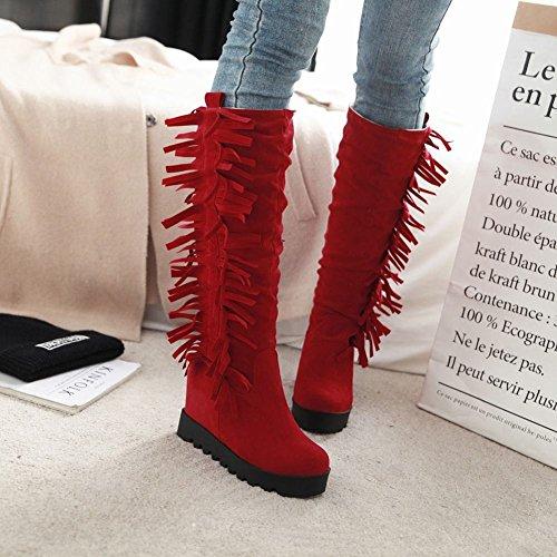 Dameslaarzen Damesslippers Platform Retro Verborgen Hak Kniehoge Laarzen Rood