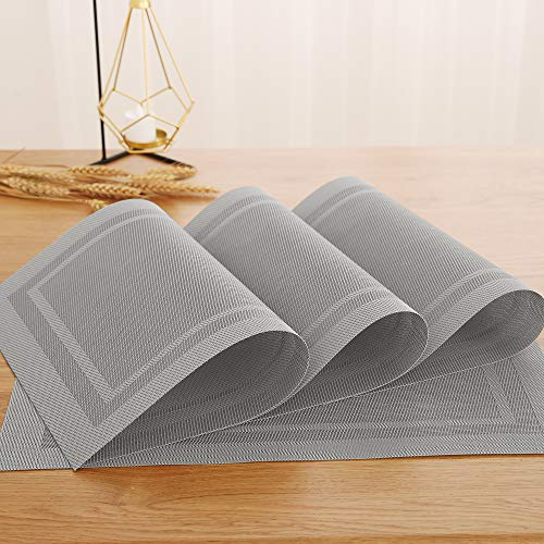 Deconovo Placemats Spill-Proof Anti-Skid Place Mats Double-Faced Crossweave Woven Washable Placemat Non-Slip Placemat Stain Resistant Table Mats for Dining Table 12 W x 18 L Inch Silver Set of 4