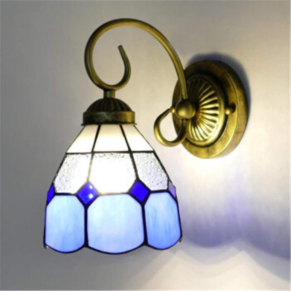 Idyllische mediterrane Wandlampe Schmiedeeisen Schlafzimmer Nachttischlampe Wohnzimmer TV Wandlampe Wohnzimmer Gang Spiegel Frontwandlampe A Abschnitt blau 15CM