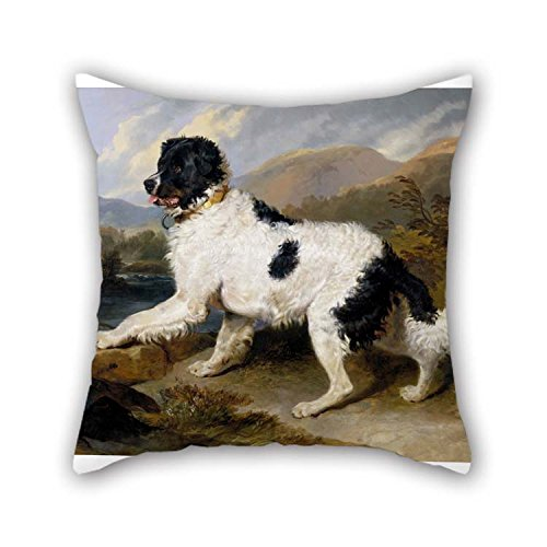 Artsdesigningshop Oil Painting Landseer, Edwin Henry (Sir, RA) - Lion- A Newfoundland Dog Throw Pillow Case 18 X 18 Inches / 45 by 45 cm for Kitchen Divan Kids Room Lover Lounge Bar Seat with 2 Sides ()