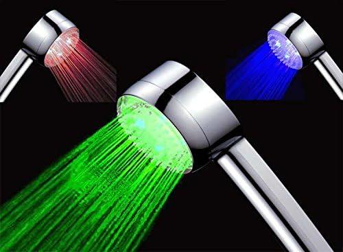 Design Duschbrause Handbrause rot und gr/ün*** FUNKTIONIERT OHNE BATTERIEN! ***LED beleuchtet in blau Temperaturgesteuerter Led Duschkopf