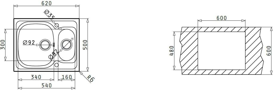100135112 Pyramis 100133212 Sparta /Évier en acier inoxydable 100 x 50 cm