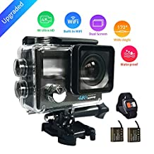 Upgraded HaloCam WiFi Sports Camera 4K Dual Screen Sport Cam 1080P Waterproof Anti-Shake Action Camera with 170°Wide Angle Lens Dual Batteries for Cycling Swimming Climbing Skiing Diving Surfing