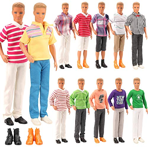 Miunana Lot 8 Items Clothes for Ken Doll EU CE-EN71 Certified Include 3 Sets Casual Wear + 3 Pcs Dolls Pants +2 Shoes (Ken Doll Accessories)