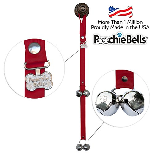 PoochieBells The Original& Trusted Dog Housetraining Doorbell.Potty DogBells to Housetrain & Communicate WithYourDog :Handcrafted in USA Since 2005 : Endorsed by Pet Industry Professionals : Easy 95% Success Rate: Potty Training Instructions Included : Solid Color Collection, Cherry Red