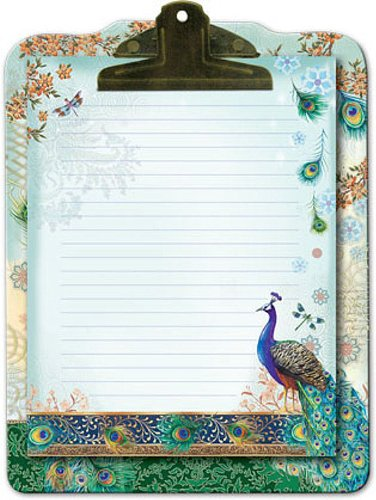 Punch Studio Royal Peacock Clip Board & Note - Designer Stationery