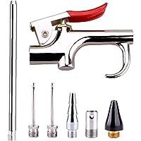 Air Nozzle Blow Kit Pneumatische Tool Kit Nozzle Compressor Gereedschap met 6 Verwisselbare Nozzles Zilver Khaki