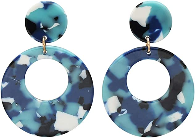 Elegant Women Blue Round  Hollow Out Drop Dangle Ear Stud Earrings Jewelry Gift