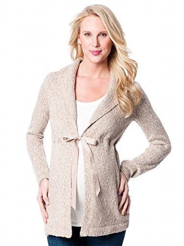 Maternity Cardigan Sweater with Front Clasp (X-Laege, Tan Marled)