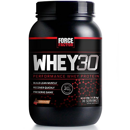 Cheap Force Factor WHEY30 Performance Whey Protein to Build Lean Muscle, Recover Quickly, and Preserve Gains, 3 Pounds